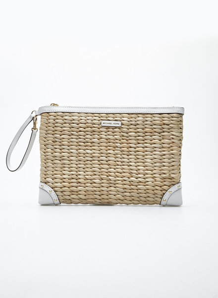 Michael Kors WICKER AND LEATHER LARGE CLUTCH