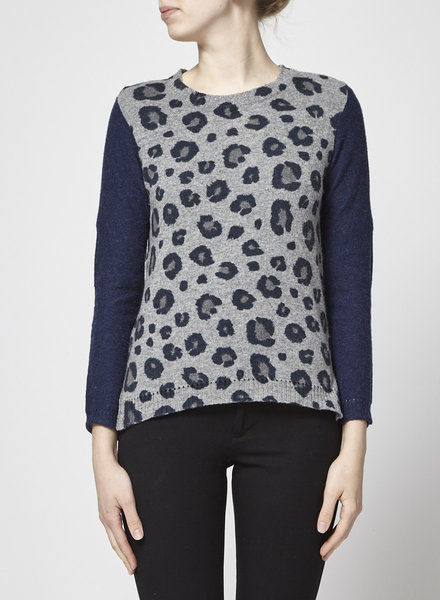 Rebecca Taylor LEOPARD GRAY AND NAVY WOOL SWEATER