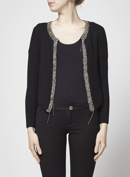 Maje CHAIN-EMBELLISHED BLACK KNITTED CARDIGAN