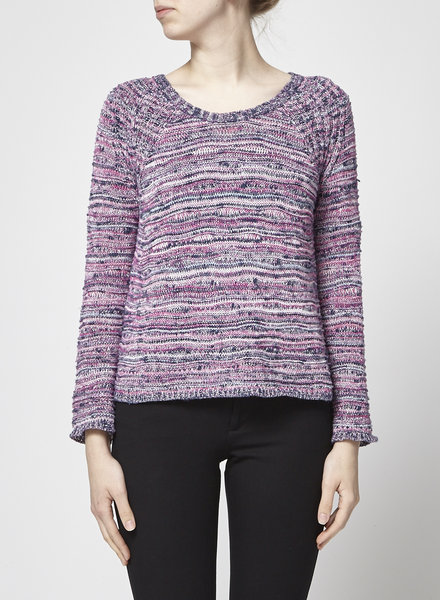 Maje BLUE AND PINK COTTON AND METALLIC SWEATER