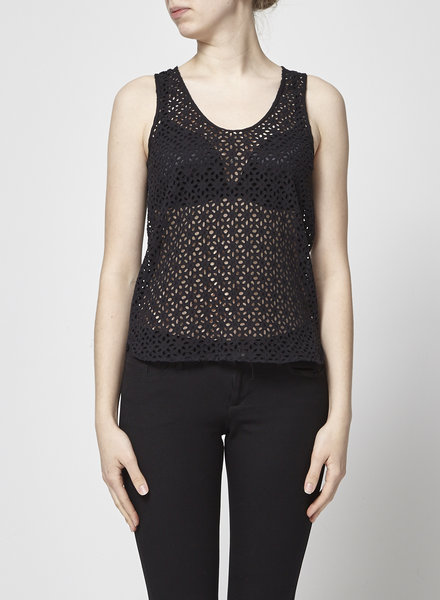 Maje BLACK EYELET-EMBELLISHED COTTON TOP