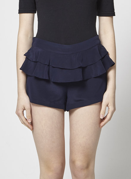 Bel Air NAVY RUFFLED SILK SHORTS
