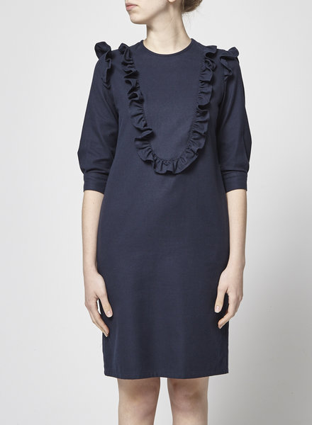 Francois Beauregard RUFFLED NAVY DRESS