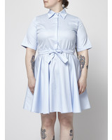 Marigold LIGHT BLUE ELASTIC WAISTBAND MIDI DRESS WITH POINTED COLLAR - WITH TAG