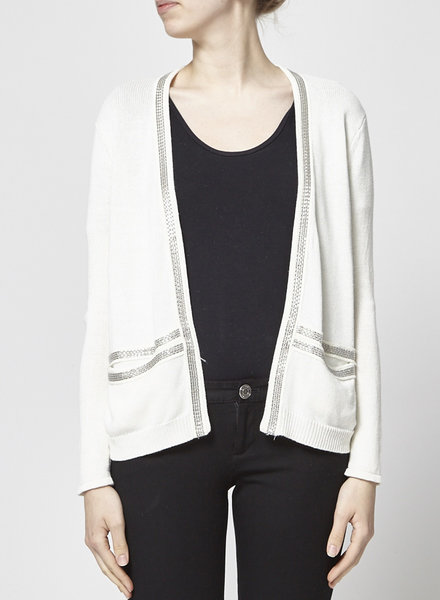 Maje WHITE CHAIN-EMBELLISHED KNITTED CARDIGAN