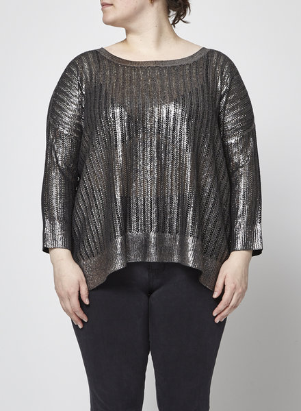 Club Monaco BLACK AND SILVER KNIT SWEATER