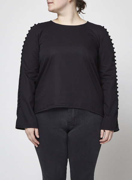 McGuire BUTTONS ON SLEEVES BLACK BLOUSE