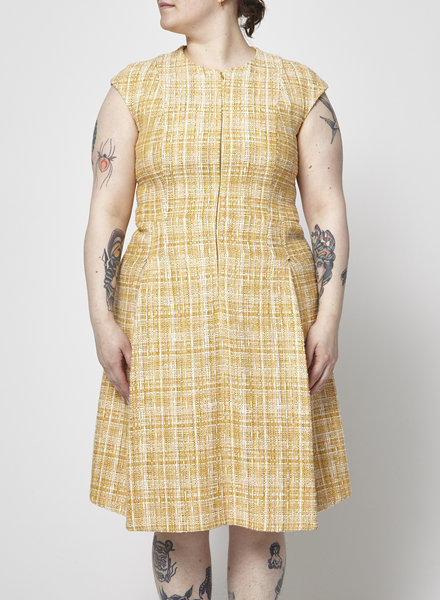 Akris Punto YELLOW ZIP-FRONT TWEED DRESS