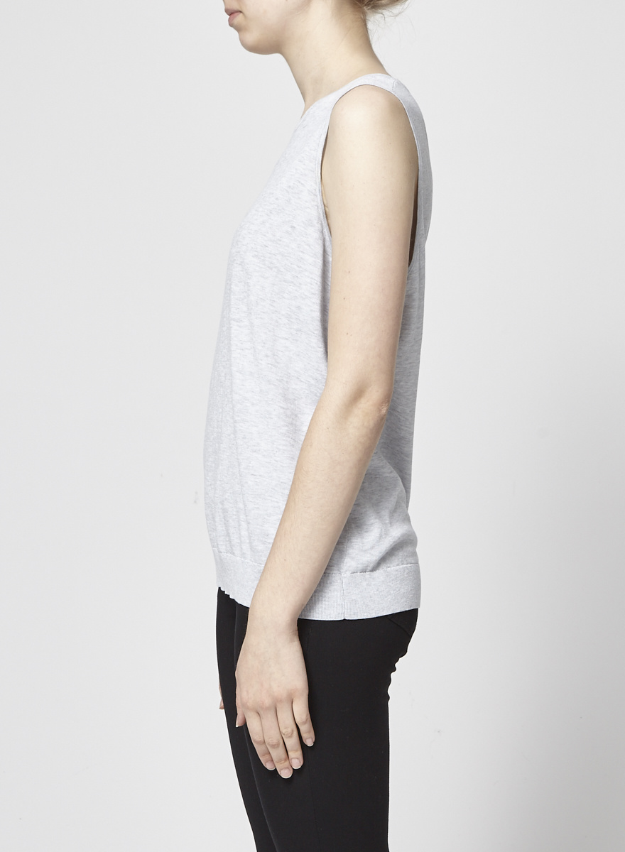 Theory Pale Grey Sleeveless Sweater