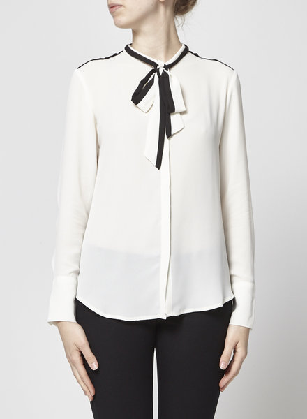 Banana Republic BLACK AND WHITE PUSSY-BOW BLOUSE