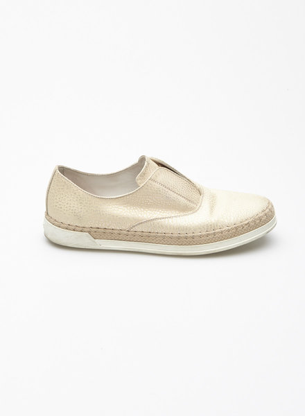 TOD'S BEIGE AND SILVER LEATHER LOAFERS