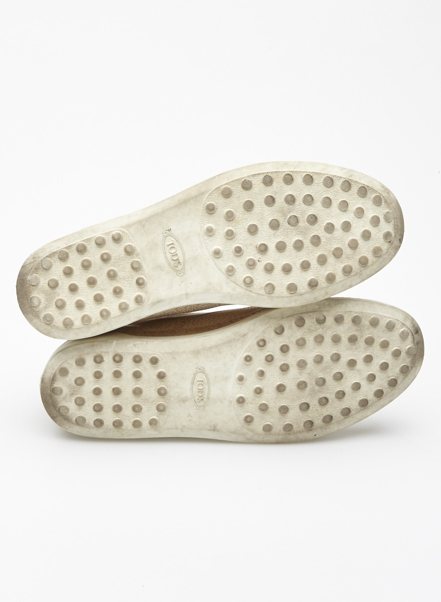 TOD'S On Sale - Beige and Silver Leather Loafers