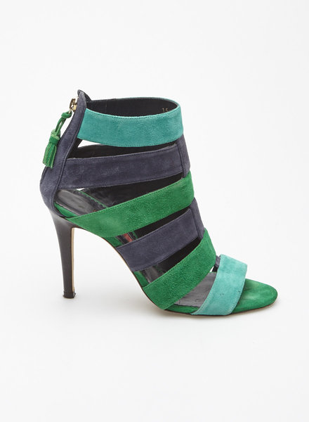 Carolina Herrera NAVY AND GREEN SUEDE PUMPS