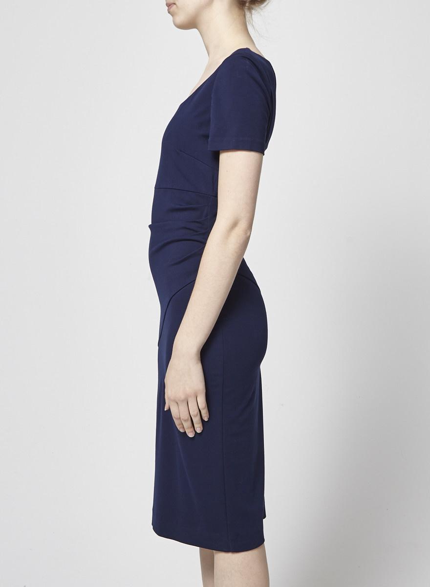 a6ab501b Draped Navy Blue Dress - Diane von Furstenberg - DEUXIEME EDITION