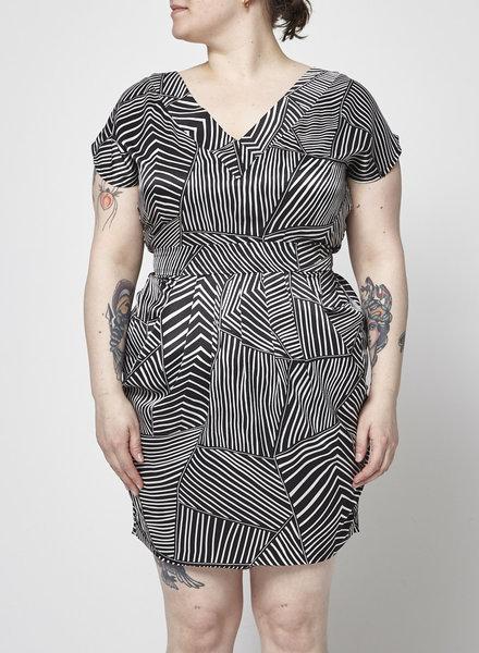 Valerie Dumaine BLACK AND WHITE OPEN BACK DRESS