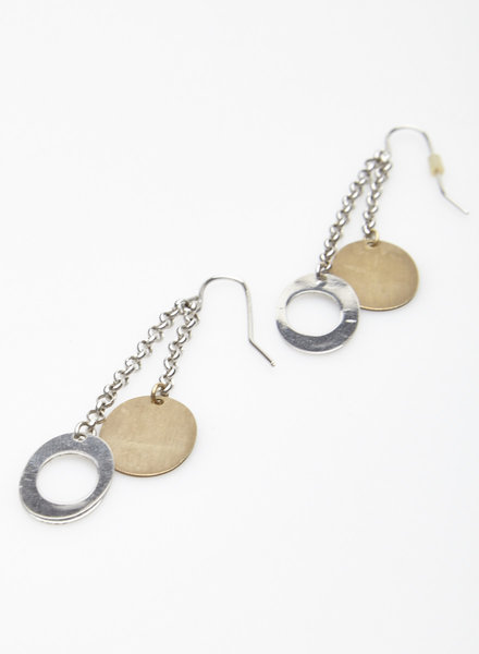 Moug SILVER AND GOLD EARRINGS