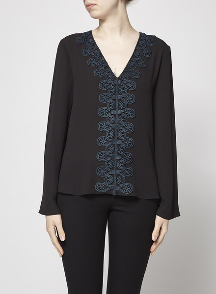 Bailey44 BLACK EMBROIDED BLOUSE