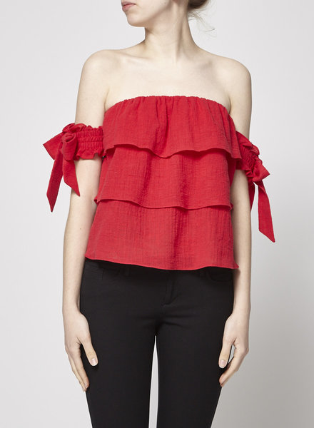 Misa RED OFF-THE-SHOULDERS TOP - WITH TAG