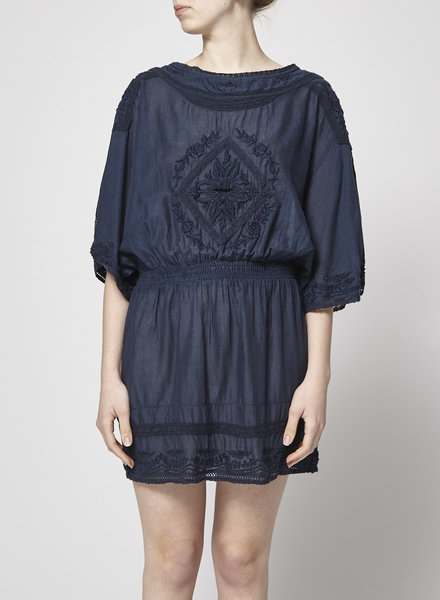 Star Mela NAVY DRESS WITH EMBROIDERY