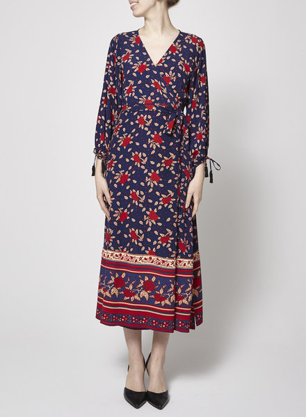 Faithfull The Brand BLUE WALLET DRESS WITH ROSES PATTERNS