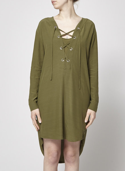 SET NEW PRICE (WAS $79) - OLIVE GREEN DRESS LACED IN THE FRONT