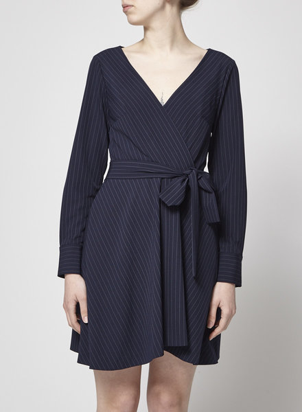 Club Monaco NAVY DRESS WITH THIN WHITE LINES