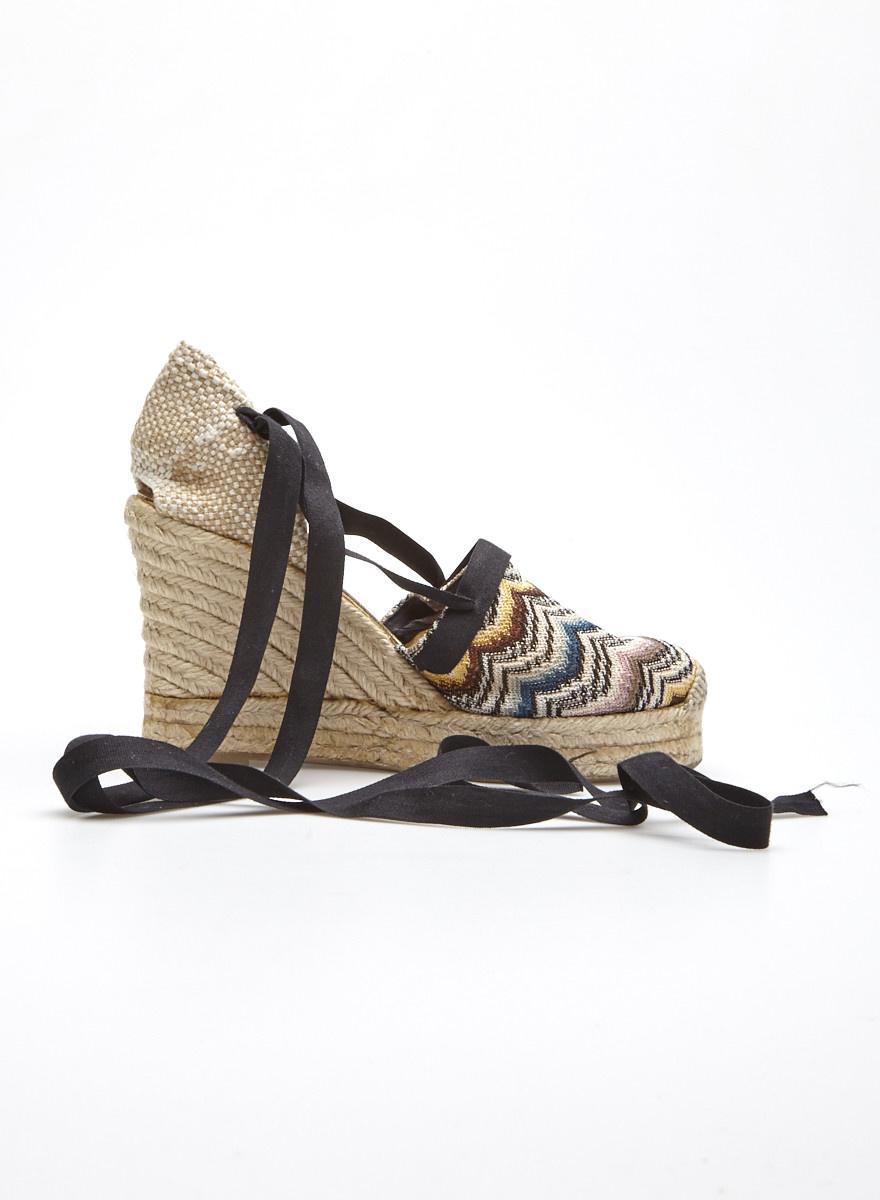 e8ffd19fda765 Chaussures à talons compensés tricot chevrons - Missoni - Deuxième ...
