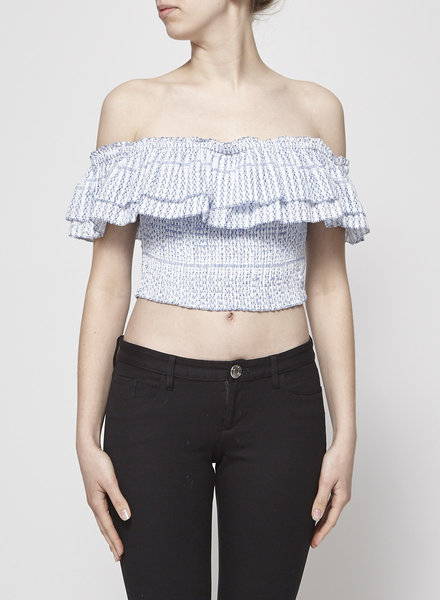 Gypsy 05 OFF-THE-SHOULDER BLUE & WHITE CROP TOP
