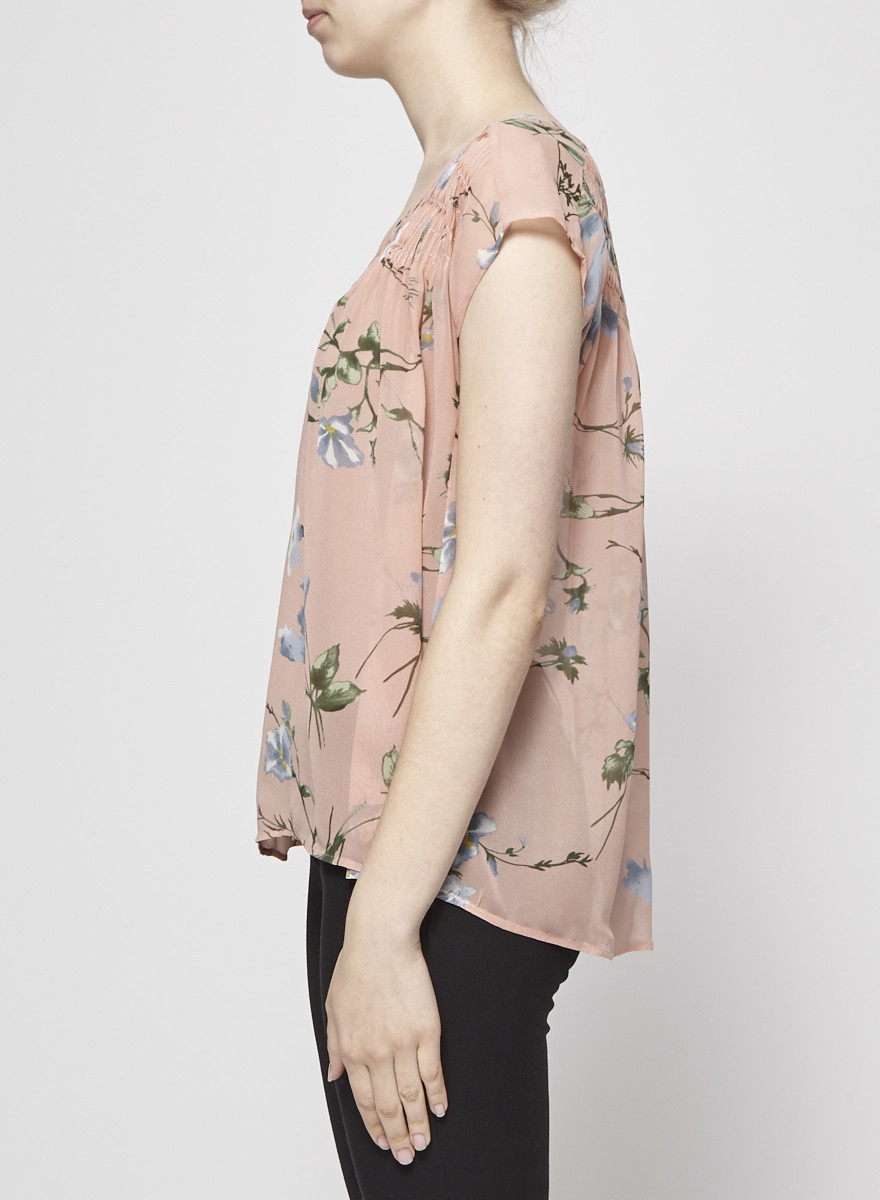 Joie FLORAL-PRINT SEE-THROUGH  SILK  BLOUSE