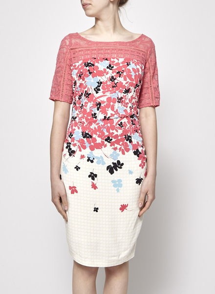 Tracy Reese PINK AND OFF-WHITE FLORAL LACE DRESS