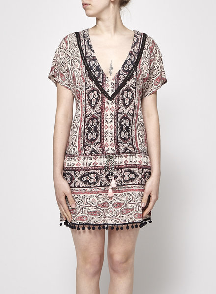 Gypsy 05 PINK DRESS WITH PRINT AND TASSELS