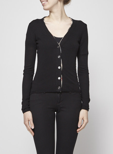 Burberry BLACK CARDIGAN WITH MONOGRAMMED DETAILS