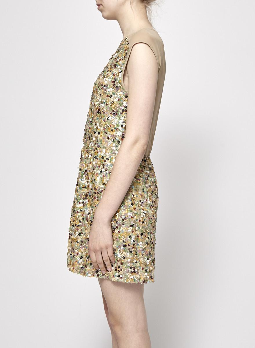 22c63238 Tibi Beige Dress With Colorful Sequins Tibi Beige Dress With Colorful  Sequins ...