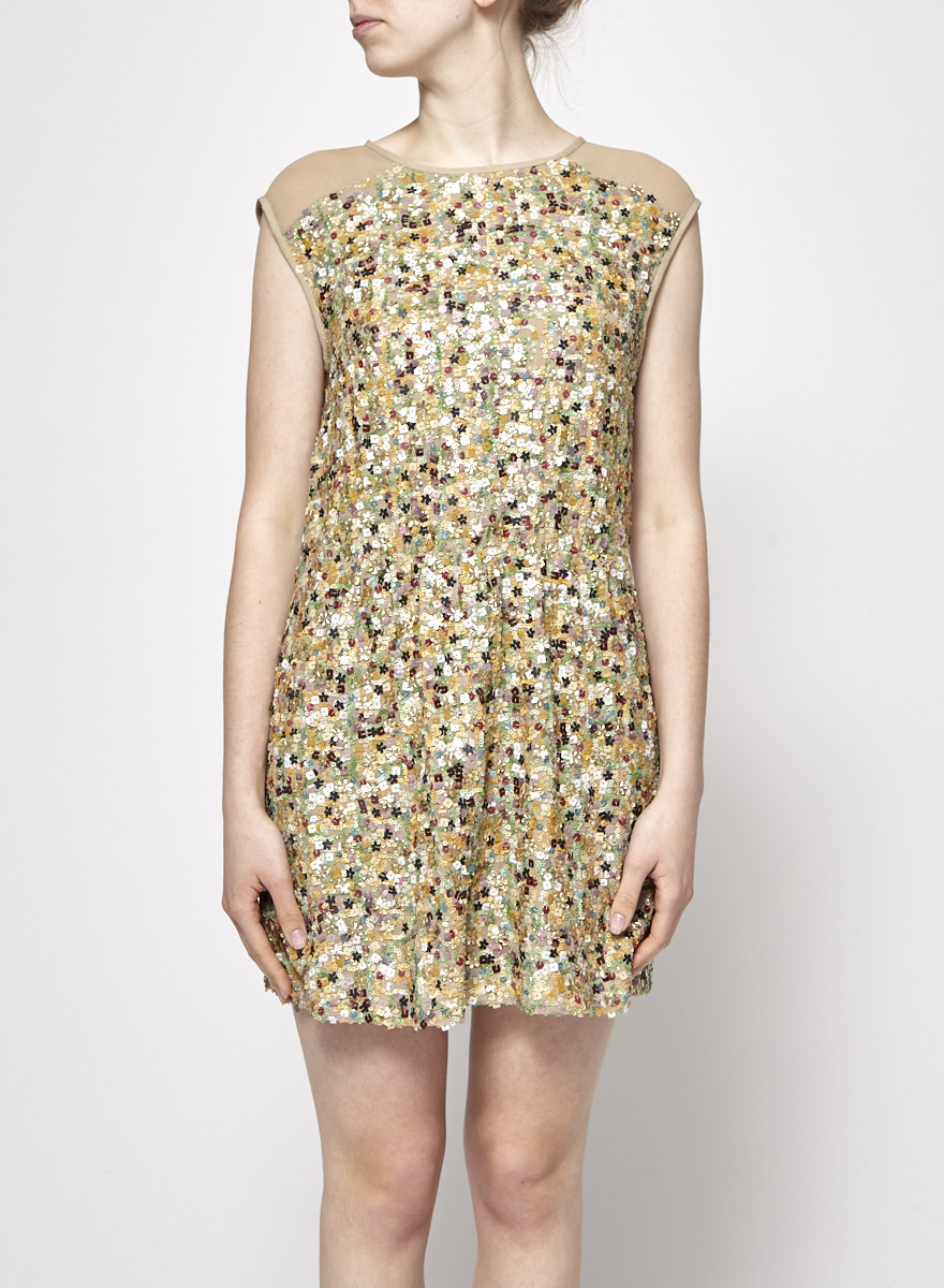 78d6850e Beige Dress With Colorfull Sequins - tibi - DEUXIEME EDITION
