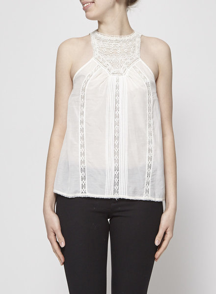 Joie WHITE LACE-PANELED TOP