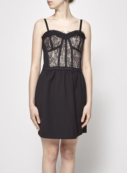 Rebecca Taylor BLACK LACE CORSET DRESS