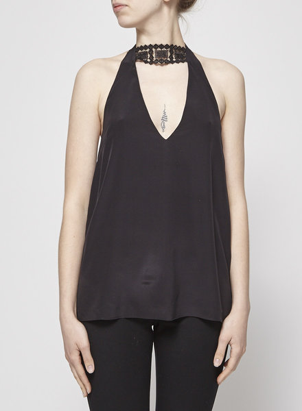 CAMI NYC BLACK SILK HALTERNECK TOP