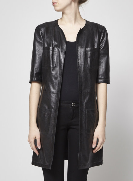 Chanel LONG BLACK LEATHER JACKET