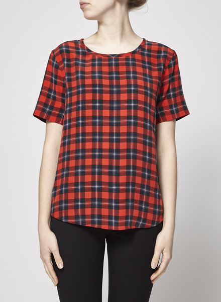 Equipment RED CHECKED SILK TOP