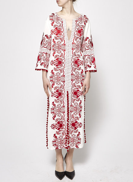 Misa OFF-WHITE & RED EMBROIDERED LONG TUNIC