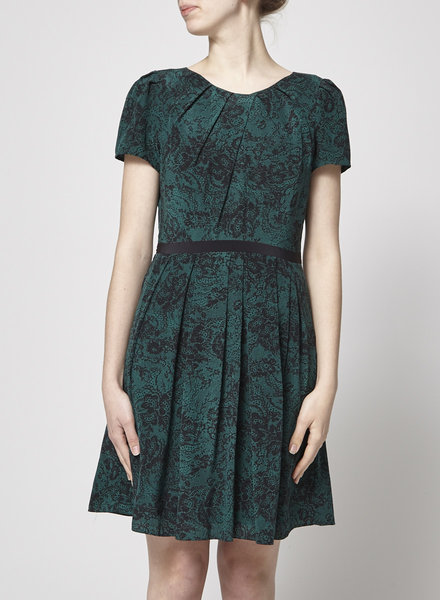 Cynthia Steffe DARK-GREEN DRESS WITH PRINTED LACE