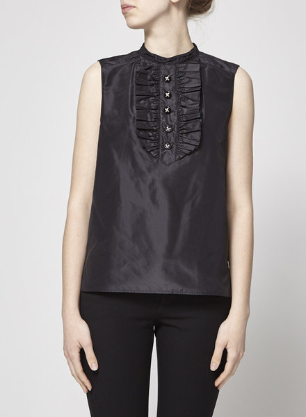 Chanel BLACK SLEEVELESS TOP WITH JEWEL BUTTONS
