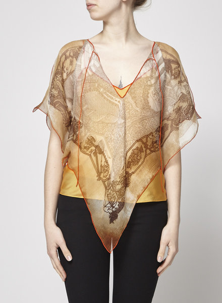 Hermès PRINTED SILK TOP WITH YELLOW CAMISOLE
