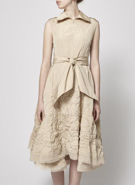 Marie Saint Pierre BEIGE CRINKLED DRESS