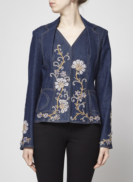 Christian Dior ON SALE - DENIM JACKET WITH FLORAL EMBROIDERY AND SMALL STONES