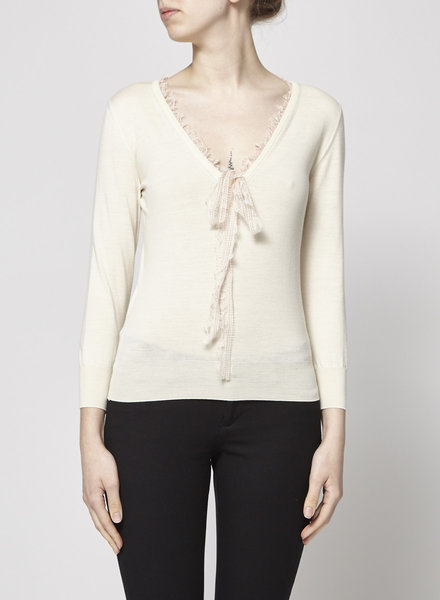 Dolce & Gabbana OFF-WHITE PALE PINK LACE TRIM SWEATER