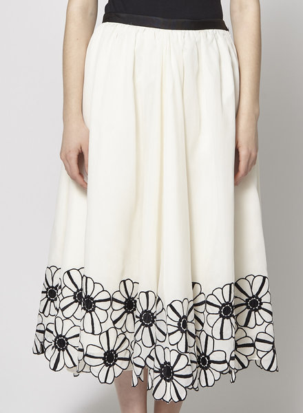Michael Kors Collection OFF-WHITE COTTON & SILK WITH BLACK EMBROIDERED FLOWERS SKIRT