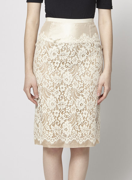 Dolce & Gabbana BEIGE SILK AND LACE PENCIL SKIRT