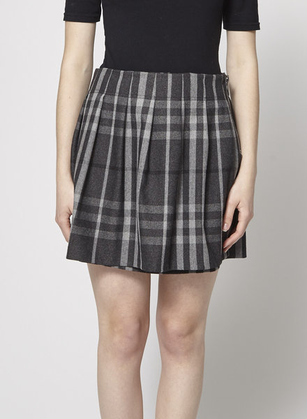 Burberry GREY CHECKED WOOL WRAP SKIRT