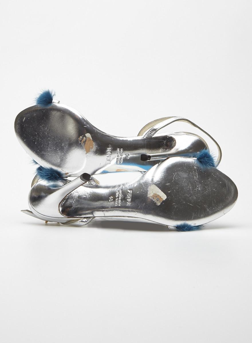 Fendi Fur-Trimmed Silver Leather Sandals